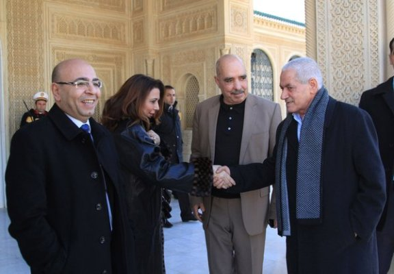 From left, Mohamed Fadhel Mahfoudh, Wided Bouchamaoui, Abdessattar Moussa and Houcine Abbassi before a meeting with President Beji Caid Essebsi in Tunis in January. They lead the four groups that make up the National Dialogue Quartet.