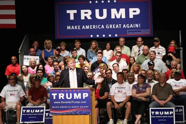 Republican presidential hopeful Donald Trump at a rally in Oskaloosa, Iowa, July 25.