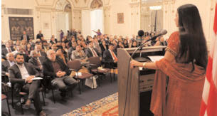 Judge Raja Rajeswari speaks on pathway to the bench  to a receptive audience at the Indian Consulate, December 10