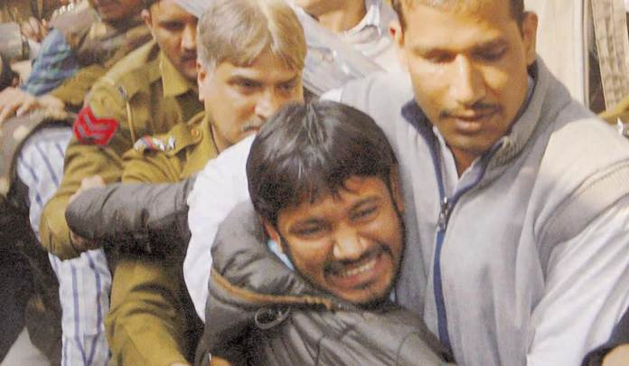 Kanhaiya Kumar was beaten by the mob and the police did not bother to protect him from the attack.