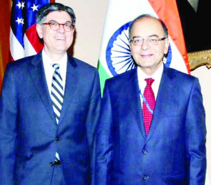 India's Finance Minister Arun Jaitley and U.S Treasury Secretary Jacob J. Lew in Washington on April 14
