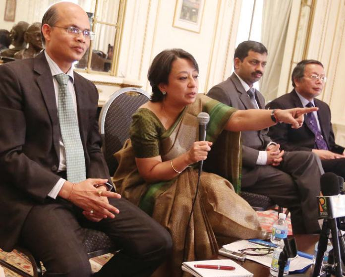 Consul General Riva Ganguly Das takes questions from media persons. To her right is DCG Manoj Mohapatra Photo/ Mohammed Jaffer-SnapsIndia