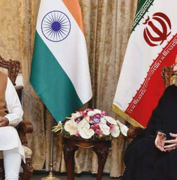 Prime Minister Narendra Modi with Iranian President Hassan Rouhan during their meeting in Tehran, Iran. Photo/ Courtesy PTI
