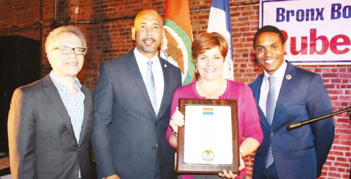(L to R): Council Member James Vacca, Bronx Borough President Ruben Diaz Jr., Christine Quinn, Council Member Ritchie Torres.