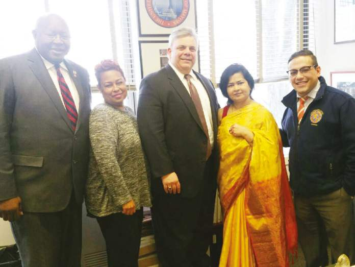Newly Appointed MWBE Advisory Council Member Ragini Srivastava (third from left) with (L to R): Chief Deputy Comptroller James Garner, Deputy Comptroller Ray Averna, and Counsel Sergio Blanco.