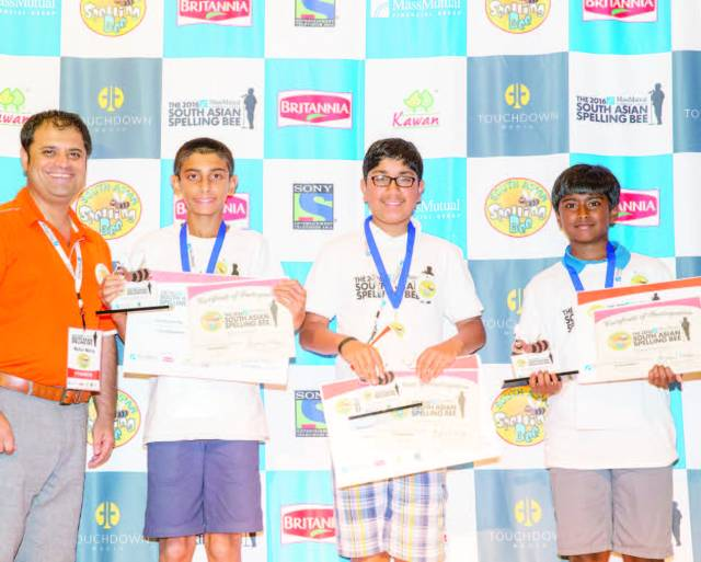 DC Winners:(Left to Right): Rahul Walia, founder of The MassMutual South Asian Spelling Bee, Rohan Sachdev, first runner-up, Tejas Muthusamy, regional champion, and Aditya Chezhiyan, second runner-up.