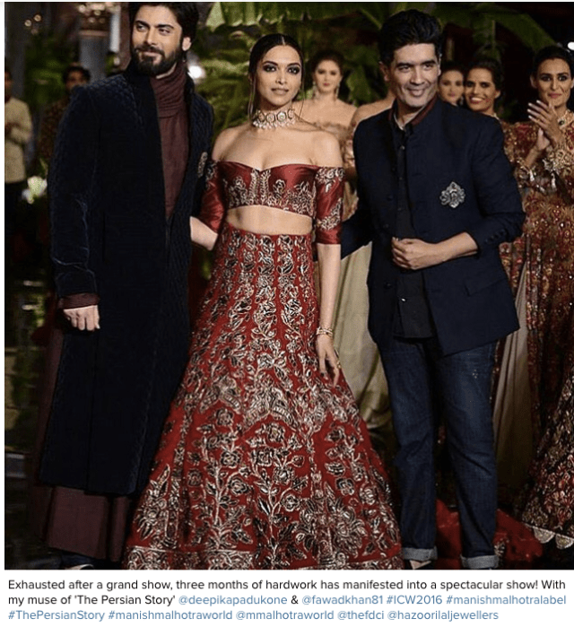 Exhausted after a grand show, three months of hardwork has manifested into a spectacular show! With my muse of 'The Persian Story' @deepikapadukone & @fawadkhan81 #ICW2016 #manishmalhotralabel #ThePersianStory #manishmalhotraworld @mmalhotraworld @thefdci @hazoorilaljewellers