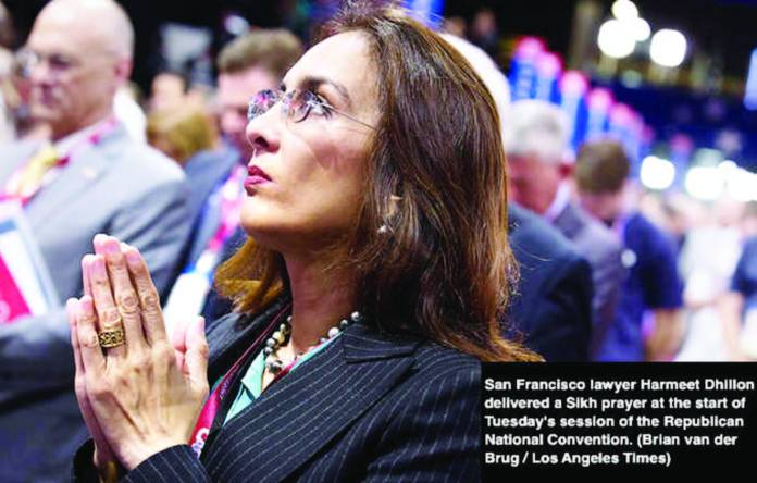Harmeet Dhillon, vice chairwoman of the California Republican Party, delivered the Sikh prayer on the national stage in Punjabi and then translated it into English.
