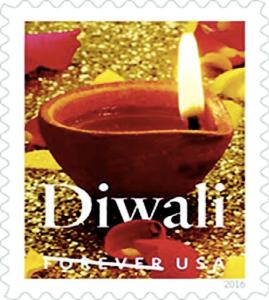 The Diwali Stamp. The Diya is photographed by Sally Andersen-Bruce of New Milford, CT and the stamp has been designed by Greg Breeding of Charlottesville, VA while William J. Gicker of Washington, DC is the project's art director. Photo / courtesy USPS