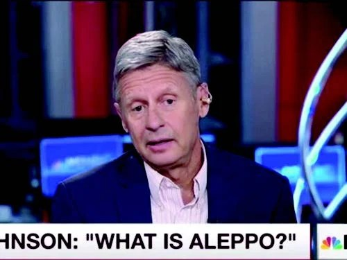 Libertarian presidential candidate Gary Johnson was confounded by the question