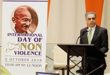 Permanent Representative of India to the United Nations, Ambassador Syed Akbaruddin speaking at the International day of Non Violence on 2nd October, 2016 at UN Photo / Mohammed Jaffer-Snapsindia