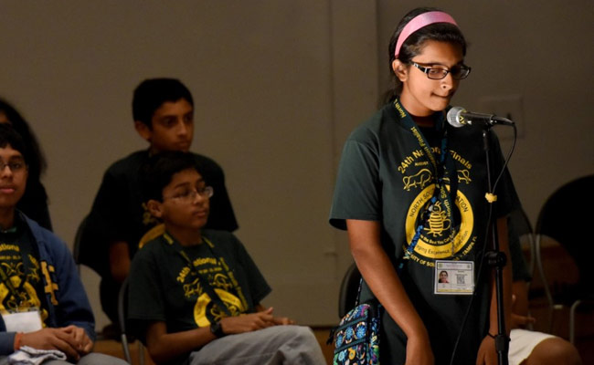 Smrithi Upadhyayula thinks of the spelling as she competes in Phase 3 of the Senior Spelling Bee. (File)