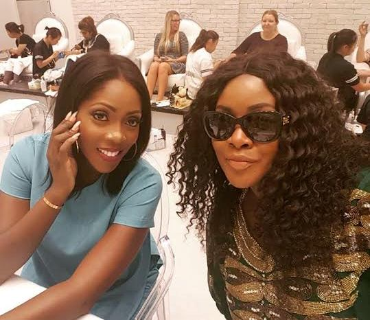 Photo: Tolu Oniru hangs out with Tiwa Savage in Dubai ahead of her upcoming wedding
