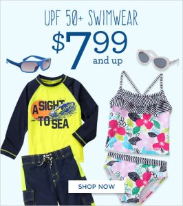 Swimwear $7.99, Sundresses $7.99, and Shorts & Tees For $5.99