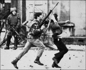 British troops in action in Derry in January 1972
