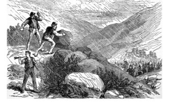 A military party come to enforce an eviction is attacked with rocks. The illustration comes from teh 1880s but could equally depict the Rockites.