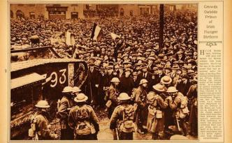 British Army troops keep crowds back from Mountjoy during the executions, march 14 1921.