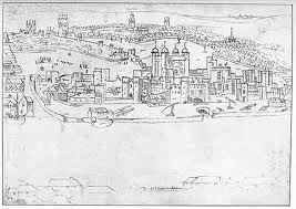 London in the 16th century, the Tower in the foreground.