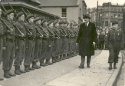 Frank Aiken inspects Irish troops in 1954.