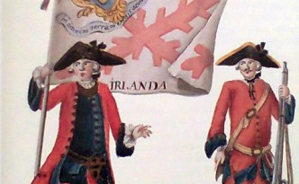 Irish soldiers in the 18th century Spanish Army. The banner reads 'Irlanda'.