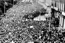 Hostile crowds surround the British embassy in Dublin in 1972.