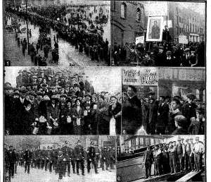 From Christopher Lee's article on the Lockout in north County Dublin:The swords strikers demonstrate in Dublin in 1913. The banner, middle right says, 'unity is strength'.