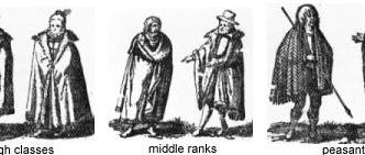 A depictions of different social classes in 1600s Ireland.