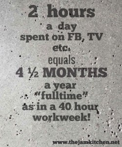 "2 hours a day spent on FB, TV etc. equals 4 ½ MONTHS a year ""fulltime"" as in a 40 hour workweek!"
