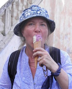 woman eating icecream