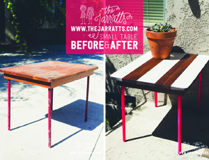 striped table – before + after
