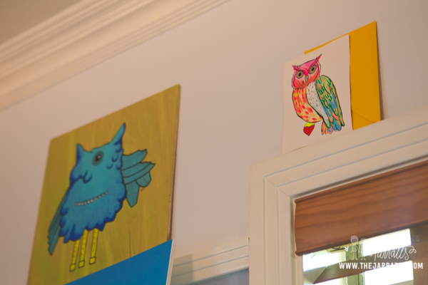 home office work space | owl painting by whitney arrington | thejarratts.com