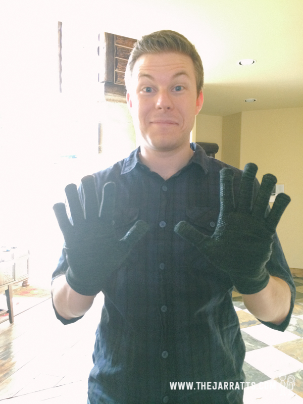 Brandon's tech gloves from Michael arrived the day we left!