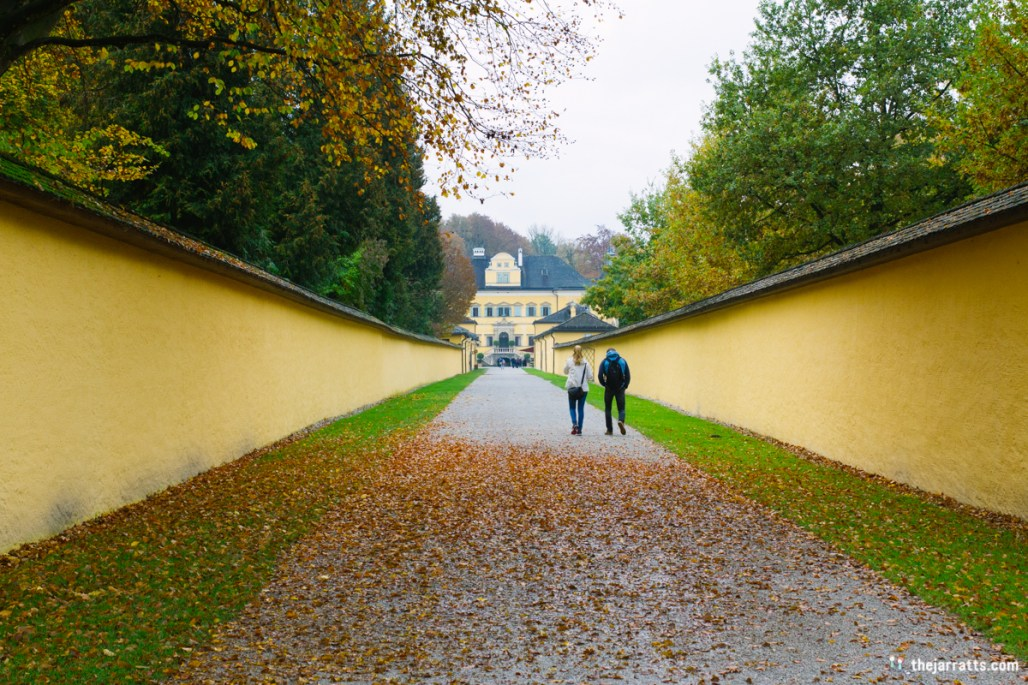 "The long walk to Schloss Hellbrunn, the Archbishop's ""summer daytime"" residence"