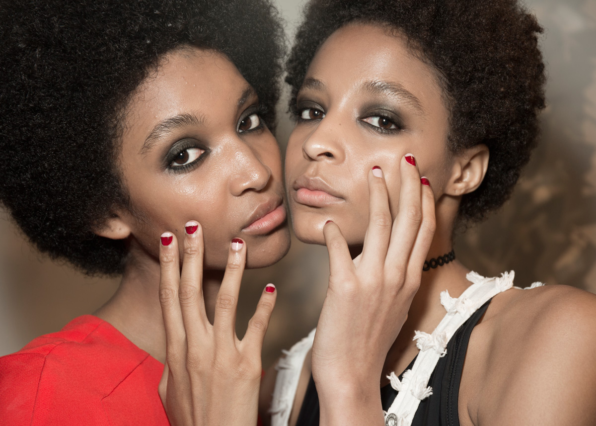 Essie Maki Me Happy swatch - Essie Go Go Geisha - Color block manicure backstage at Rebecca Minkoff SS17 Runway Show at New York Fashion Week