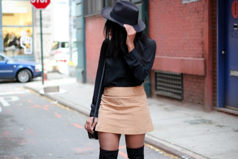 How to wear Over The Knee Boots + A Line Camel Mini Skirt