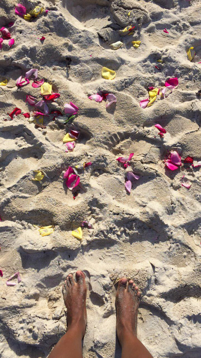 St Thomas US Virgin Islands Travel Diary | Feet in sand with rose petals