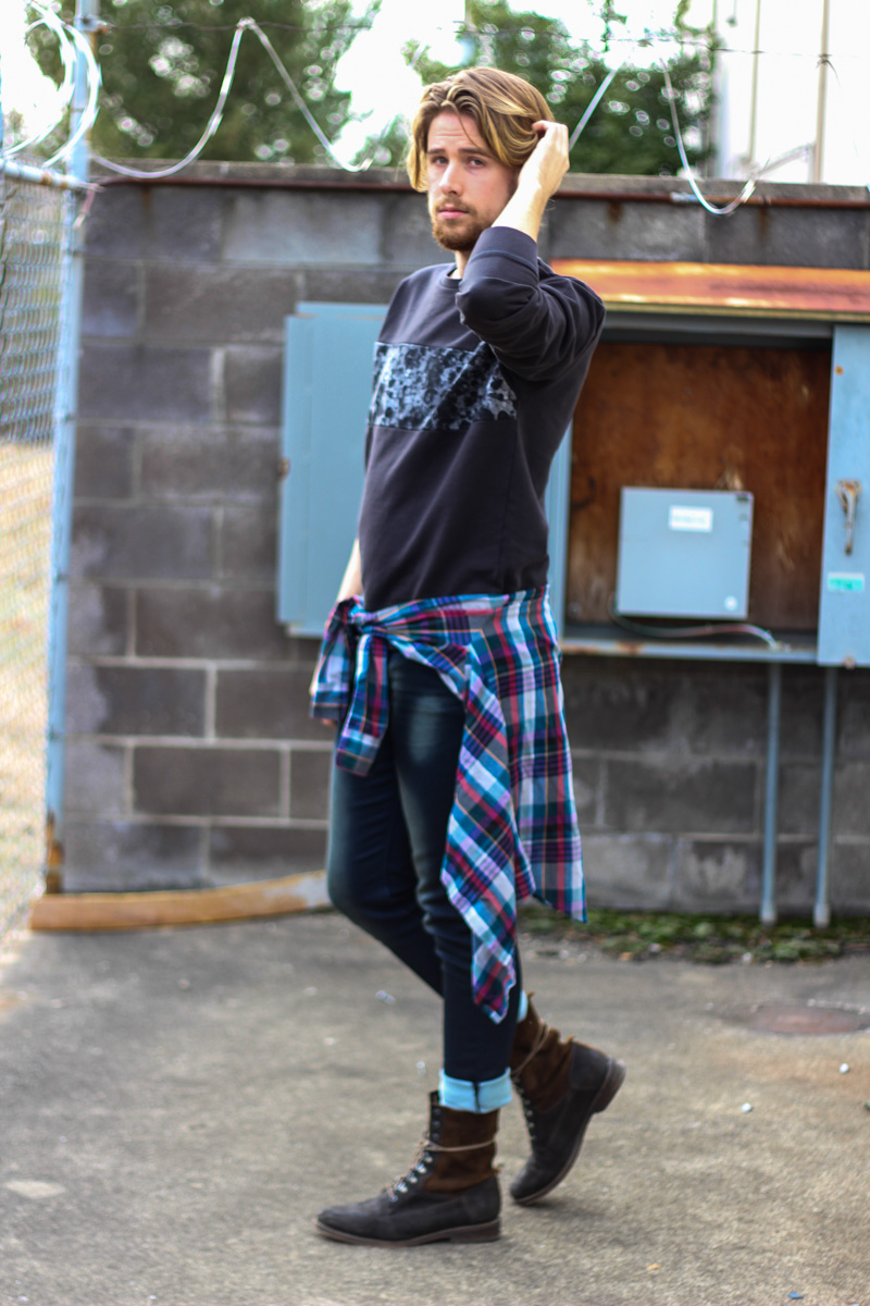 Crew Plaid Shirt, Paul Rizk Jeans from JackThreads, and J Shoes Boots