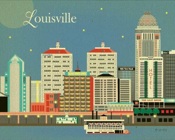 Louisville, Kentucky skyline digital art work by Loose Petals on Etsy.