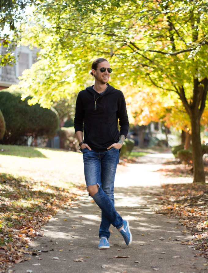 The Kentucky Gent, a men's fashion and lifestyle blogger, in a Kill City Hoodie, Narrows Tank Top, Zara Jeans, Bucketfeet Slip On Shoes, Ray-Ban Aviator Sunglasses, and Miansai wrap bracelet.