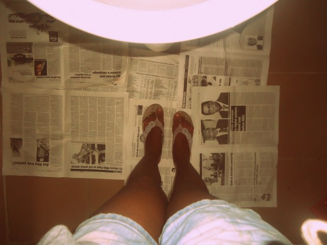 I covered more of the floor with newspaper after this photo was taken