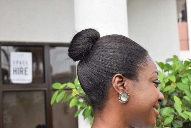 Naturals in the City- Relaxed Hair Bun