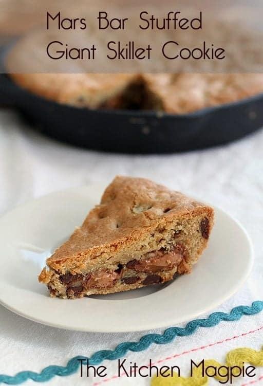 Mars Bar Stuffed Skillet Chocolate Chip Cookie Recipe - Kitchen Magpie