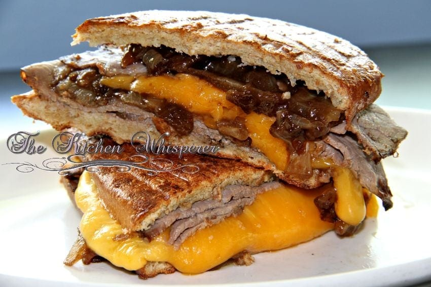 Roast Beef Panini with Guinness Caramelized Onions