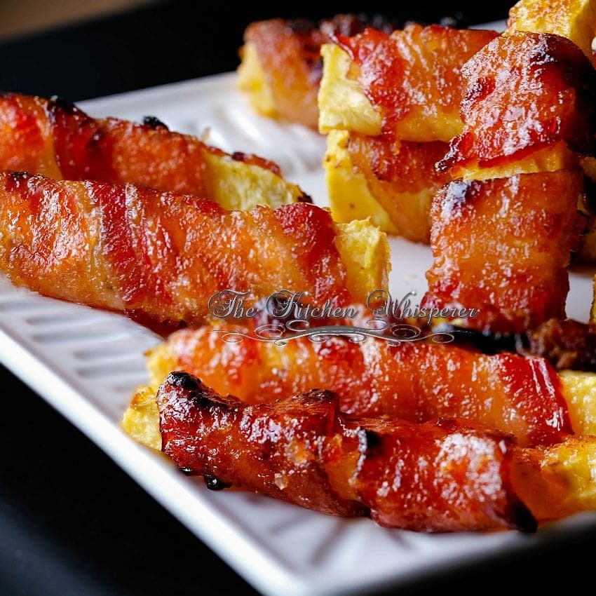 Grilled Sriracha Candied Bacon Wrapped Pineapple