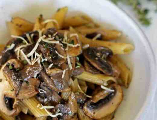 Super speedy mushroom pasta with garlic, herb & butter sauce - a perfect throw together meal, ready in 20 minutes!