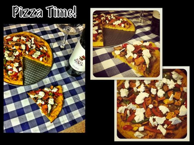 pizza2 Caramelized Onion & Goat Cheese Pizza with Sweet Potato Socca Crust