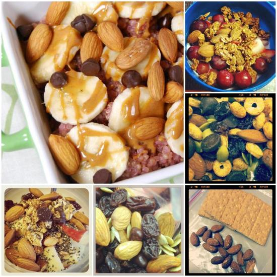 Almonds are a heart healthy snack that can be eaten a variety of ways. Here are few ideas!