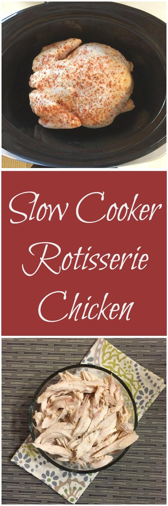 Did you know you can make a rotisserie-style chicken in your crockpot? It's an inexpensive, easy way to prep chicken you can use in a variety of other recipes!