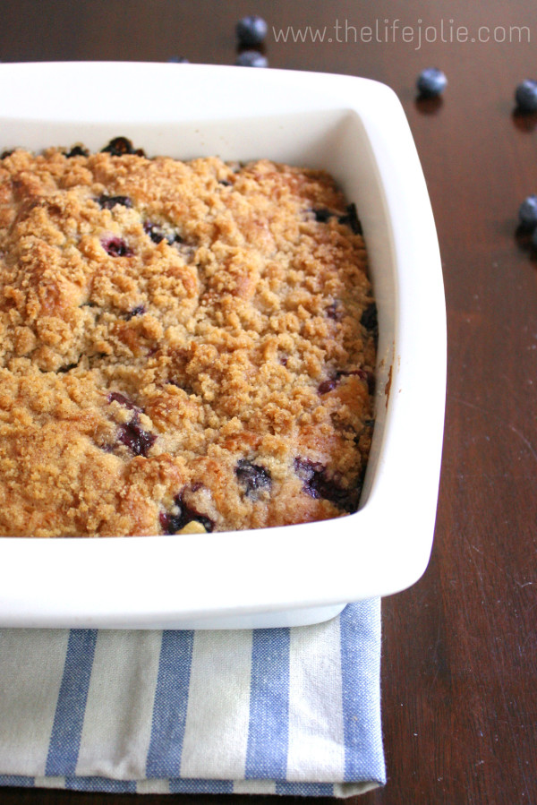 This Blueberry Buckle whips up super quickly. This moist cake is bursting with sweet, juicy blueberries with the most incredible streusel topping.