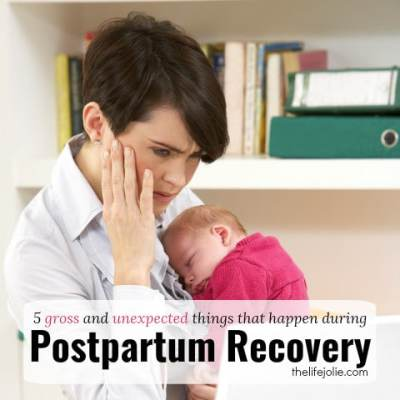 Here is a list of 5 gross and unexpected things that happen during postpartum recovery. This is a no-holds-barred list of what to expect along with some tips to make it a little more comfortable for you. It's especially great for first time moms with newborns.